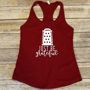 Just be Grateful - red ladies racerback tank top